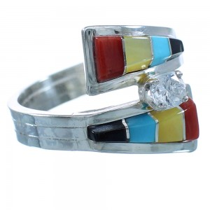 Multicolor Inlay Cubic Zirconia Zuni Sterling Silver Ring Size 5-3/4 RX111823