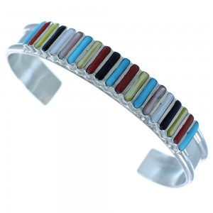 Zuni Indian Jewelry Sterling Silver Multicolor Inlay Bracelet RX102972