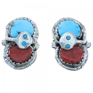 Sterling Silver Turquoise And Coral Zuni Effie Calavaza Snake Post Earrings TX103543