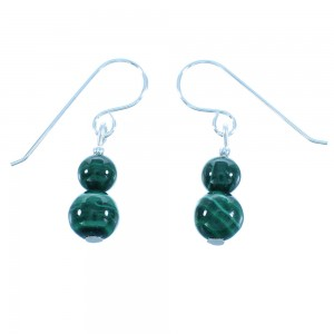 Genuine Sterling Silver And Malachite American Indian Hook Dangle Bead Earrings RX103276