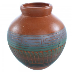 Native American Navajo Hand Crafted Water Wave Pot By Artist Cecelia Benally TX103686