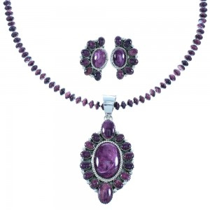 Purple Oyster Shell Navajo Sterling Silver Necklace And Earrings Set RX103509
