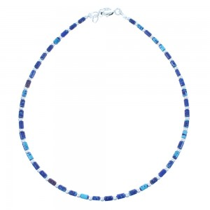 Azurite Genuine Sterling Silver Navajo Bead Anklet TX103983