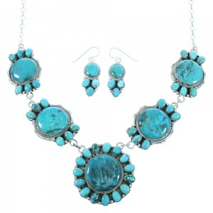 Native American Genuine Sterling Silver Turquoise Navajo Link Necklace Earrings Set TX104006