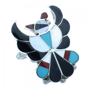 Genuine Sterling Silver Multicolor Native American Zuni Thunderbird Ring Size 5-3/4 TX104058