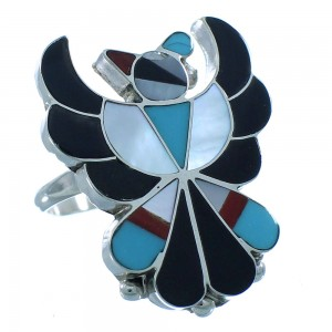 Authentic Sterling Silver Multicolor Thunderbird Zuni Ring Size 6-1/4 TX104056