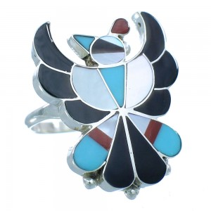 American Indian Authentic Sterling Silver Multicolor Zuni Thunderbird Ring Size 6-1/4 TX104059