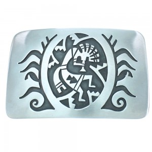 Kokopelli Corn Stalk Navajo Genuine Sterling Silver Belt Buckle TX104474
