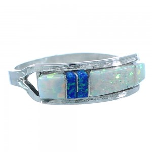Zuni Authentic Sterling Silver Multicolor Inlay Ring Size 5-3/4 SX104257