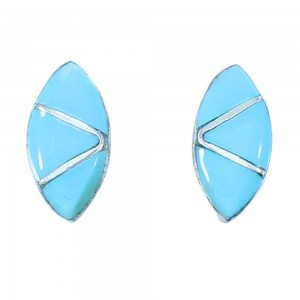 Zuni Turquoise Inlay Sterling Silver Post Earrings SX104282