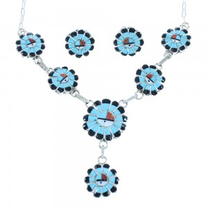 Mulitcolor Sterling Silver Sun Zuni Link Necklace Set TX104728