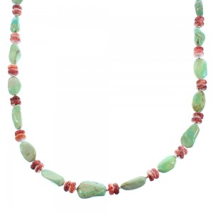 Genuine Sterling Silver Turquoise And Red Oyster Shell Navajo Bead Necklace TX104717