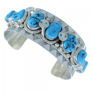 Zuni Indian Sterling Silver Sleeping Beauty Turquoise Effie Calavaza Snake Cuff Bracelet SX104688