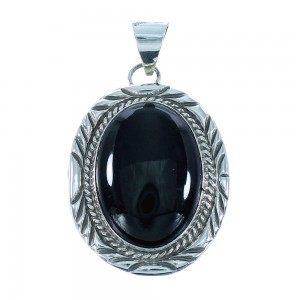 Authentic Sterling Silver Onyx Navajo Indian Pendant TX104681