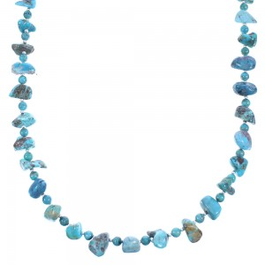 Sterling Silver And Turquoise Navajo Bead Necklace SX104739