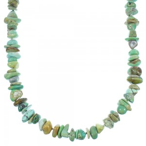 Navajo Turquoise Genuine Sterling Silver Bead Necklace TX104794