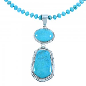 Navajo Sterling Silver And Turquoise Bead Necklace Set SX104928