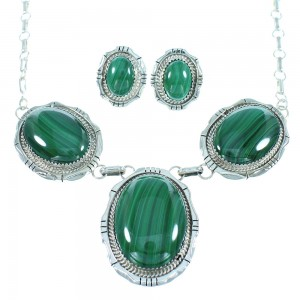 Authentic Sterling Silver Malachite Link Necklace Earrings Set SX105027