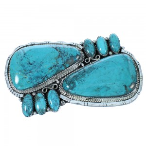 Navajo Genuine Sterling Silver Turquoise Belt Buckle SX105035