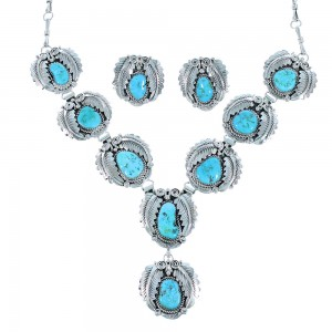 Navajo Turquoise Sterling Silver Scalloped Leaf Link Necklace Set SX105107