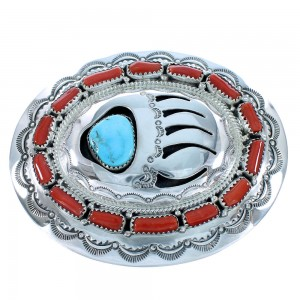 Navajo Turquoise And Coral Bear Paw Authentic Sterling Silver Belt Buckle SX105272