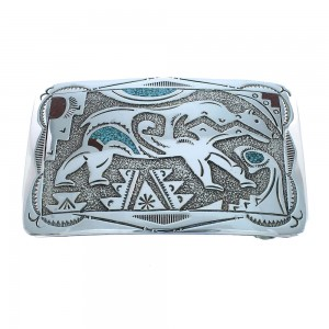 Turquoise And Coral Genuine Sterling Silver Navajo Bear Belt Buckle SX105292