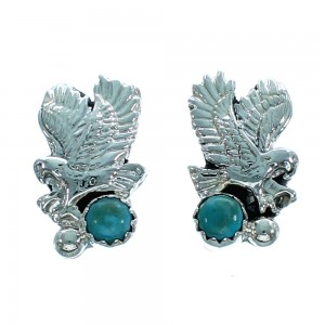 Navajo Turquoise Sterling Silver Eagle Post Earrings SX106236