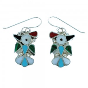 Multicolor Zuni Thunderbird Genuine Sterling Silver Hook Dangle Earrings SX106247