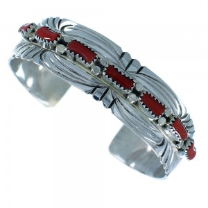 Authentic Sterling Silver Navajo Coral Cuff Bracelet RX105293