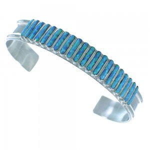 Blue Opal Zuni Indian Genuine Sterling Silver Cuff Bracelet RX105390