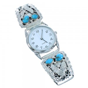 Turquoise Sterling Silver Navajo Eagle Link Watch SX105417