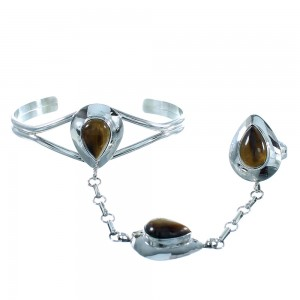 Tiger Eye Authentic Sterling Silver Tear Drop Southwest Slave Bracelet RX105402