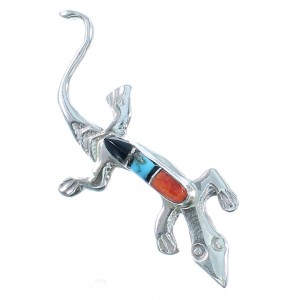 Zuni Genuine Sterling Silver Multicolor Lizard Pin RX105543