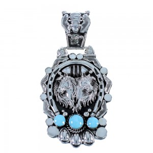 Navajo Indian Sterling Silver Turquoise Horse Pendant SX105500