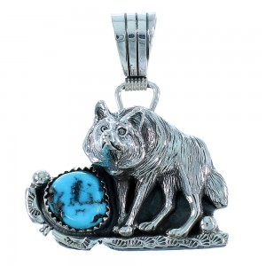 Turquoise Authentic Sterling Silver Navajo Wolf Pendant SX105509