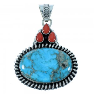 Turquoise And Coral Native American Genuine Sterling Silver Pendant SX105674