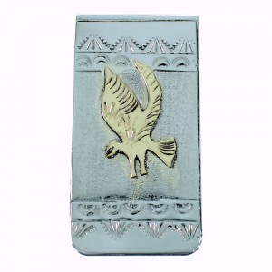 Navajo Indian Genuine Sterling Silver And 12KGF Eagle Money Clip SX105613