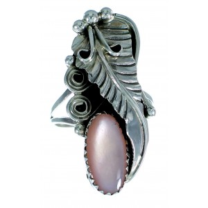 American Indian Genuine Sterling Silver Pink Shell Ring Size 6 RX106196