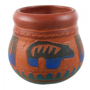 Navajo Bear Hand Crafted Pot By Artist Bernice Watchman Lee RX106355
