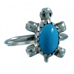 Genuine Sterling Silver Turtle Turquoise Navajo Child Ring Size 3-1/2 SX106282