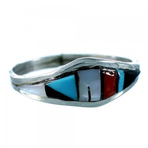 Multicolor Native American Authentic Sterling Silver Ring Size 6-1/2 SX106318