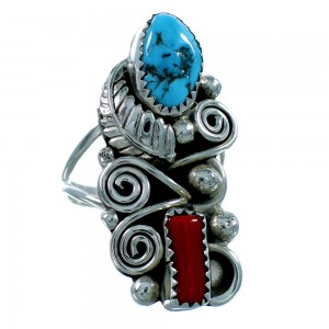 Navajo Indian Turquoise And Coral Sterling Silver Scalloped Leaf Ring Size 9-1/2 SX106326