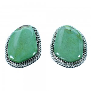 Turquoise Navajo Authentic Sterling Silver Clip On Earrings RX106429