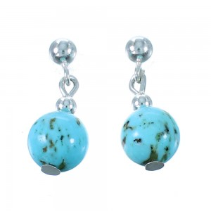 Turquoise And Sterling Silver Navajo Bead Post Dangle Earrings RX106476