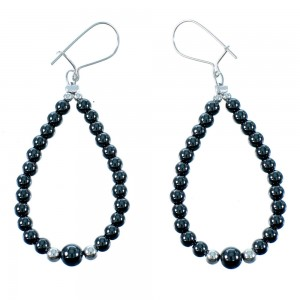 Onyx And Hematite Sterling Silver Navajo Bead Hook Dangle Earrings RX106479