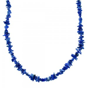 Southwest Genuine Sterling Silver And Lapis Bead Necklace SX106654