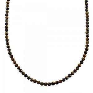 Southwestern Tiger Eye Sterling Silver Bead Necklace SX106673