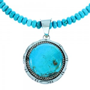 Turquoise And Genuine Sterling Silver American Indian Bead Necklace Set SX106721