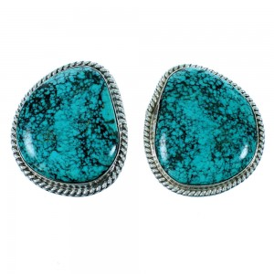 Navajo Indian Turquoise Authentic Sterling Silver Post Earrings SX106731