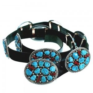Native American Sleeping Beauty Turquoise Coral Concho Belt GS57825